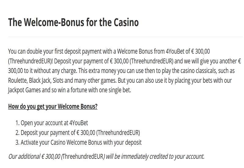 4YouBet Casino Promotion