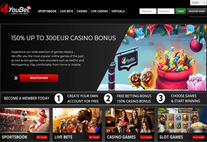 4YouBet Casino Home Page