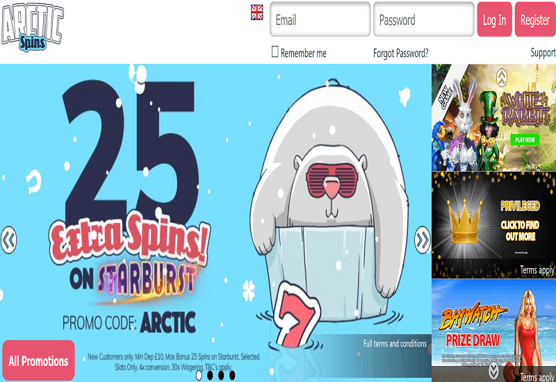 Arctic Spins Casino Home Page