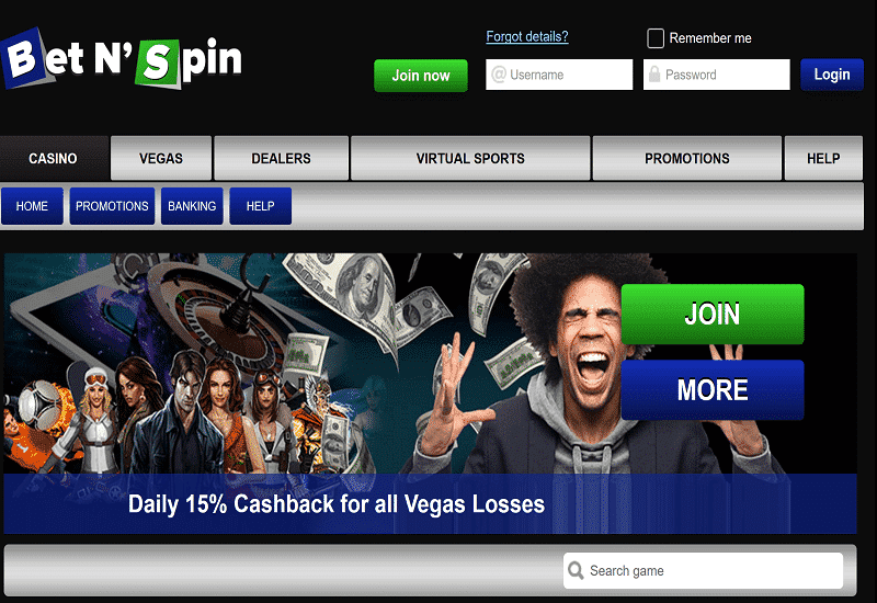 Bet'N'Spin Casino Home Page