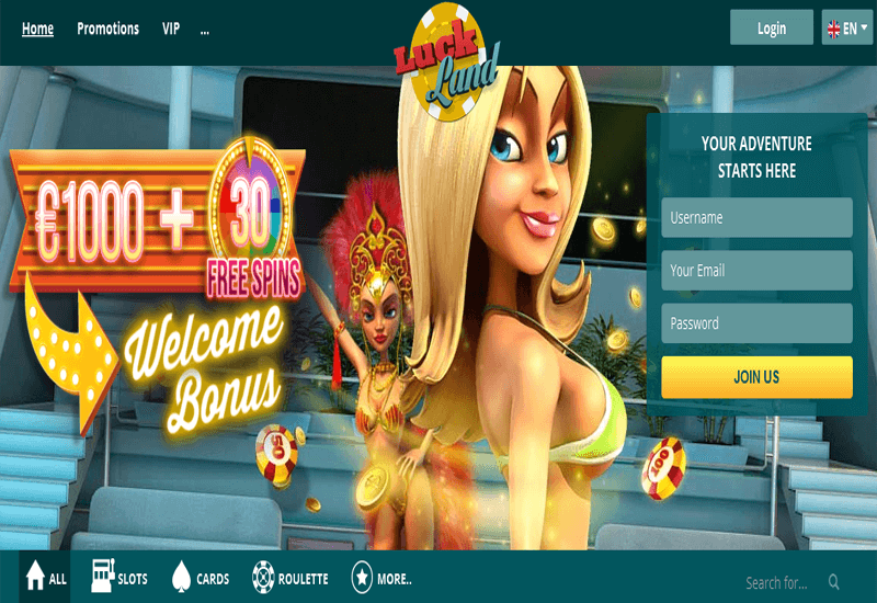 Luck Land Casino Home Page