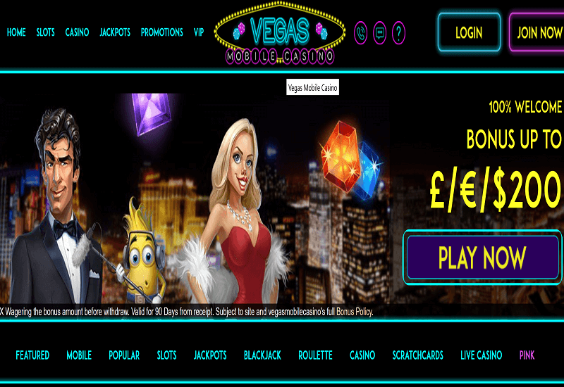 Vegas Mobile Casino Home Page