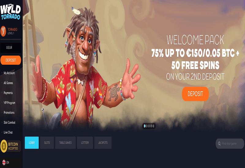Wild Tornado Casino Home Page